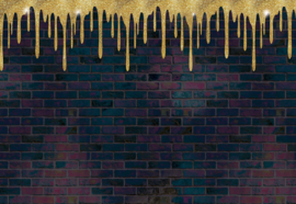 Fotobehang Brick Wall Texture Black And Gold