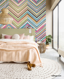 Eijffinger Stripes+ 377212 Wallpower Floral Street Chevron
