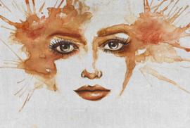 Fotowand Watercolour face 1 by Atelier 47 afm. 400cm x 270cm hoog