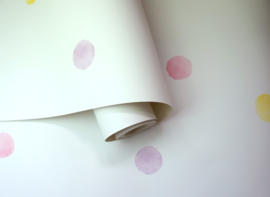 Over the Rainbow 91000 Watercolour Polka Dots Pink Yellow