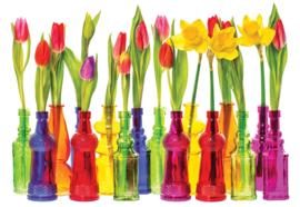 Fotobehang Tulpen in flessen