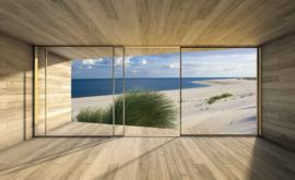 Fotobehang Uitzicht op de zee en het strand