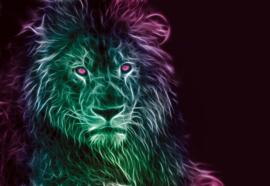 Fotobehang Moderne leeuw in neonlicht