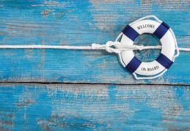 Fotobehang Worn Painted Blue Planks