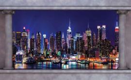 Fotobehang Doorkijk New York  Skyline Pilaren