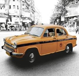 Fotobehang City Love CL61A New Delhi taxi