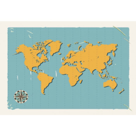 Fotobehang World Map Retro