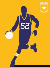 Fotowand Basketball by Bo Lundberg afm. 200cm x 270cm hoog
