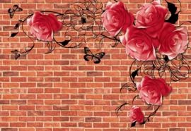 Fotobehang Brick Wall Roses