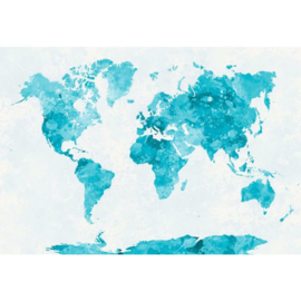 Fotobehang Wereldkaart Aquarel Turquoise