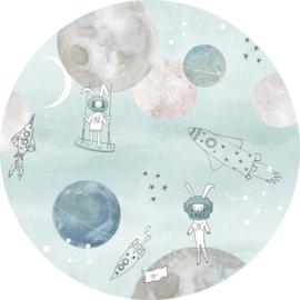Sofie & Junar too the moooon blue stickercirkel zelfklevend