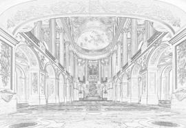 Fotobehang Wit Grijze Tekening Architectuur