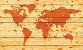 Fotobehang Wereldkaart op Planken
