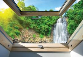 Fotobehang Waterval uitzicht vanuit dakraam