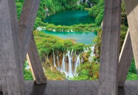 Fotobehang Watervallen uitzicht met moderne kunst