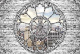 Fotobehang Doorkijk New York Empire State Raamvenster