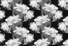 Fotobehang Zwart-wit bloemenpatroon