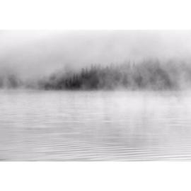 Fotobehang Nevel op het Water Zwart Wit