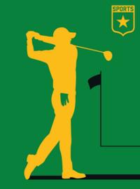 Fotowand Golfplayer by Bo Lundberg afm. 200cm x 270cm hoog