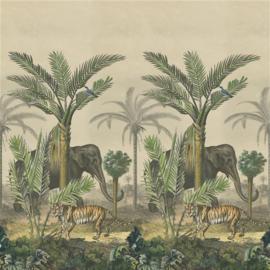Designers Guild PJD6007/01 Palm Trail Scene 1 Sepia 140cm x 300cm hoog