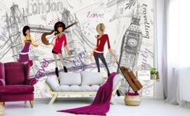 Fotobehang London Girls