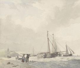 Fotobehang Gezicht op het strand bij Scheveningen - Hendrikus van de Sande Bakhuyzen