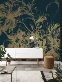Kek Gold MW-013 Engraved Flowers 200cm breed x 280cm hoog