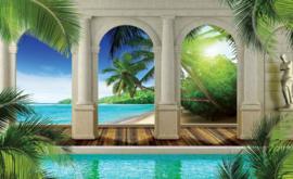 Fotobehang Uitzicht over Tropisch Strand en de Zee