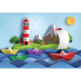 Fotobehang Sail Away Papercut Series