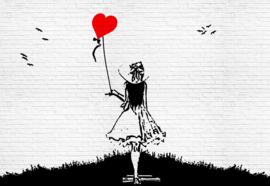 Fotobehang Banksy Graffiti Black and White Brick Wall Girl and Heart Balloon