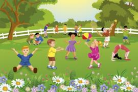 Fotobehang Kinderen in de tuin