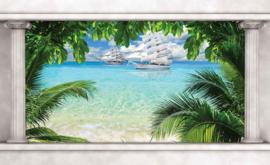 Fotobehang Uitzicht op Tropisch Strand