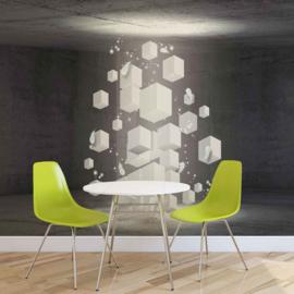 Fotobehang Abstract white blocks