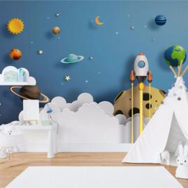 Fotobehang Rocket Away Papercut Series