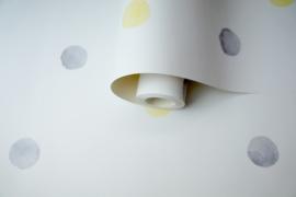 Over the Rainbow 91002 Watercolour Polka Dots Grey Yellow