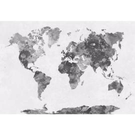 Fotobehang Wereldkaart Aquarel Monochrome