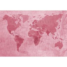 Fotobehang Wereldkaart Rood