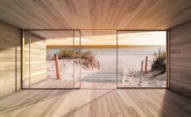 Fotobehang Uitzicht op het strand en de zee