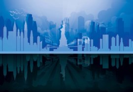 Fotobehang Modern 3D New York City Skyline At Night Blue And Black
