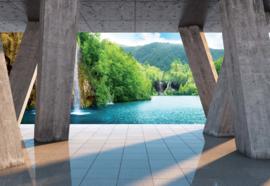 Fotobehang Waterval meer met moderne kunst