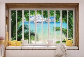 Fotobehang 3D Window View Tropical Beach