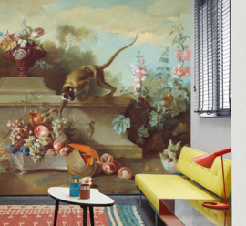 Dutch Painted Memories 8070 Still life with monkey, fruits, and flowers