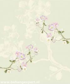 Behang Eijffinger Un Bisou 365114 Fleurs de Printemps verte