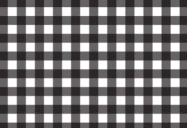 Fotobehang Zwart-wit geblokt patroon