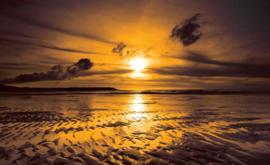 Fotobehang Zonsondergang bij het Strand