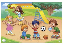 Fotobehang Kinderen in de speeltuin