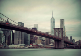 Fotobehang Sepia New York Skyline Brooklyn Bridge