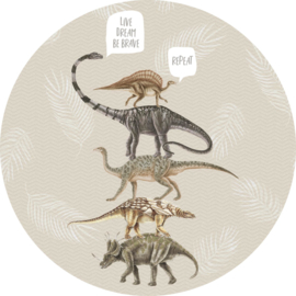 Sofie & Junar live, dream, be brave gray stickercirkel zelfklevend