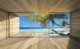 Fotobehang Uitzicht op het Palmstrand