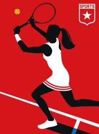 Fotowand Tennisplayer by Bo Lundberg afm. 200cm x 270cm hoog